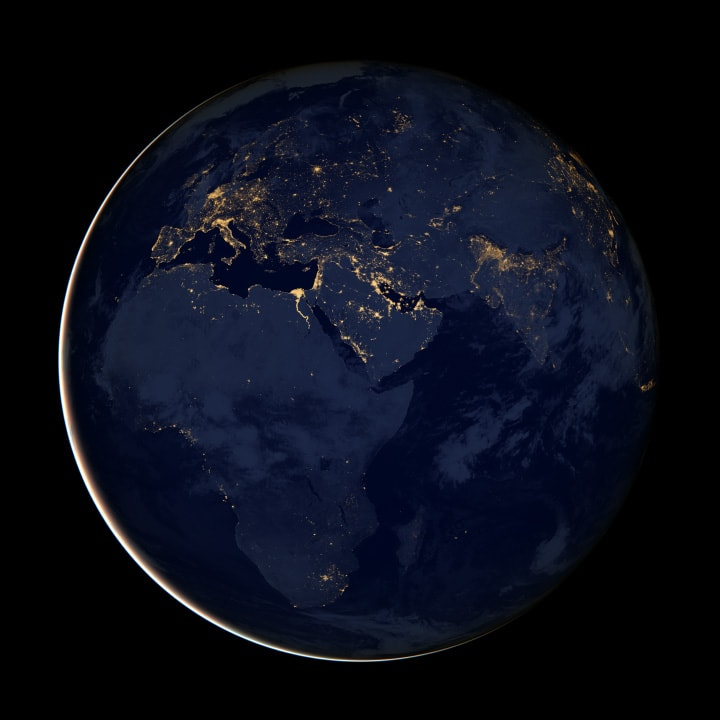 Our cities glow on the dark side of the Earth.