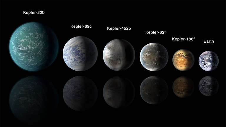 Artist's conception of a habitable-zone planets identified by the Kepler satellite.