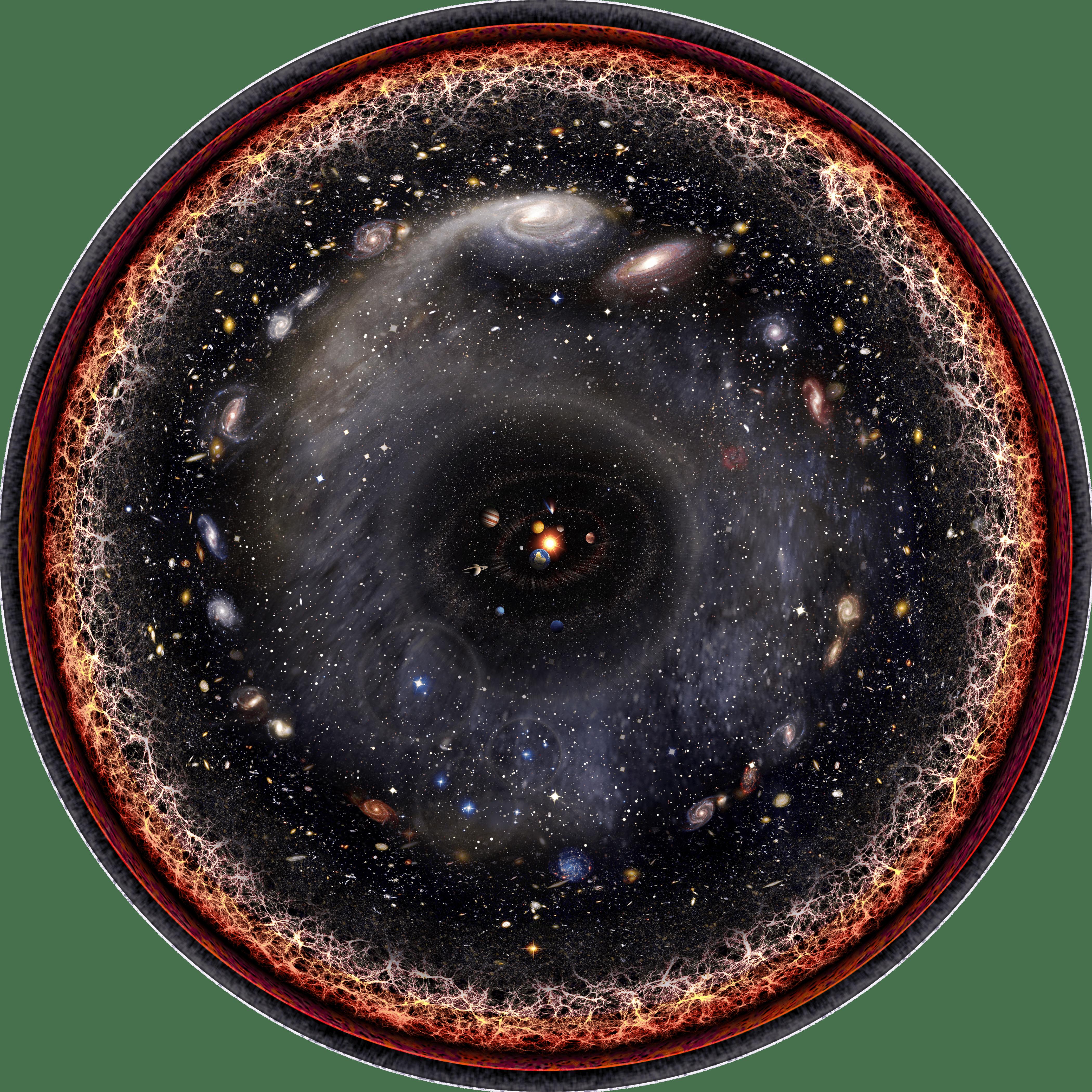 An artist's representation of the finite observable universe. Image Credit: Wikimedia