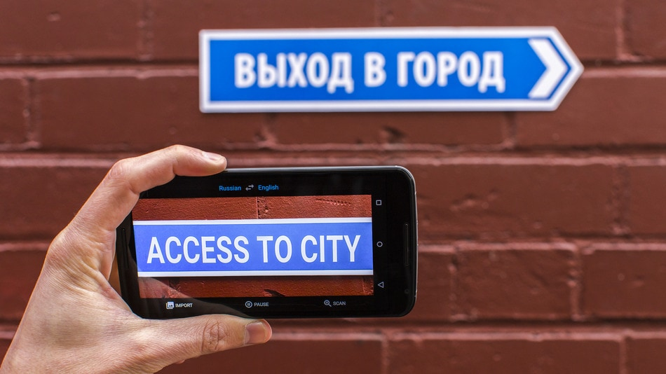 Google Translate can perform on-the-fly translations of signs and other written text.