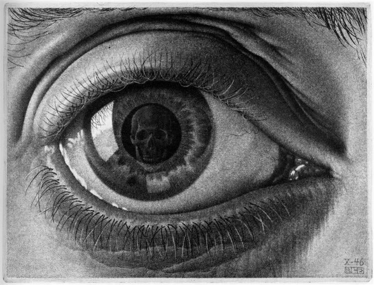 "A person looks at their fate in ""Eye"" By M. C. Esher (1946). Can death be cured?"