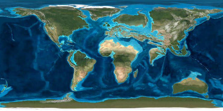 A map of the Earth at the time when the yeast were trapped in tree resin.