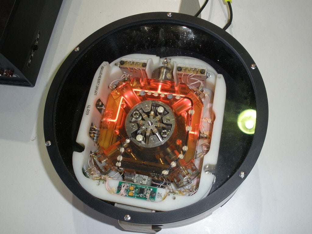 Mechanical gyroscopes have long been used for navigation on aircraft, ships, and spacecraft. Modern gyroscopes based on lasers have no moving parts. They send two beams of light in opposite directions around a ring. Timing differences indicate angular motion of the vehicle. Imaged Credit: Wikimedia