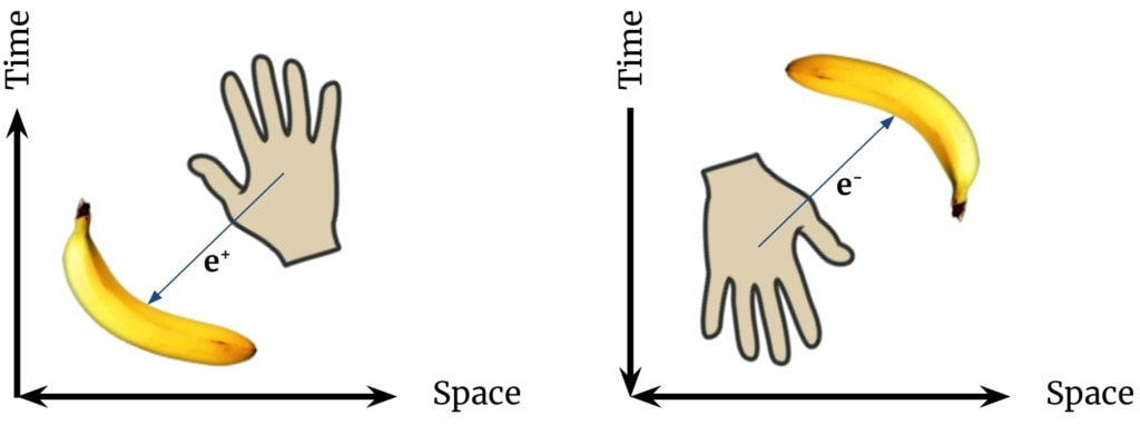 Conventionally, we say the banana emits a positron which strikes our hand. But Ernst Stueckelberg and Richard Feynman would say it is an equally valid description to say our hand emits an electron that travels backwards through time to the banana.