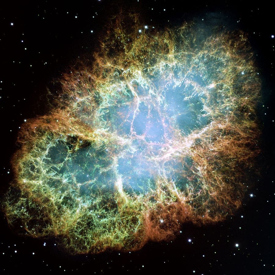 """According to Chinese and Japanese astronomers, in 1054, a """"guest star"""" appeared in the sky. It shone as brightly as the moon and was bright enough to be seen in the day. In 1999, NASA pointed the Hubble space telescope in the direction this light was reported. It saw the aftermath of a great explosion: the crab nebula. The remains of an exploded star."""