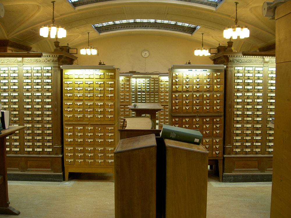 Due to its completeness, the library itself is the most compact catalog of all the books in the library. In other words, a card-catalog of the library would be the library itself.