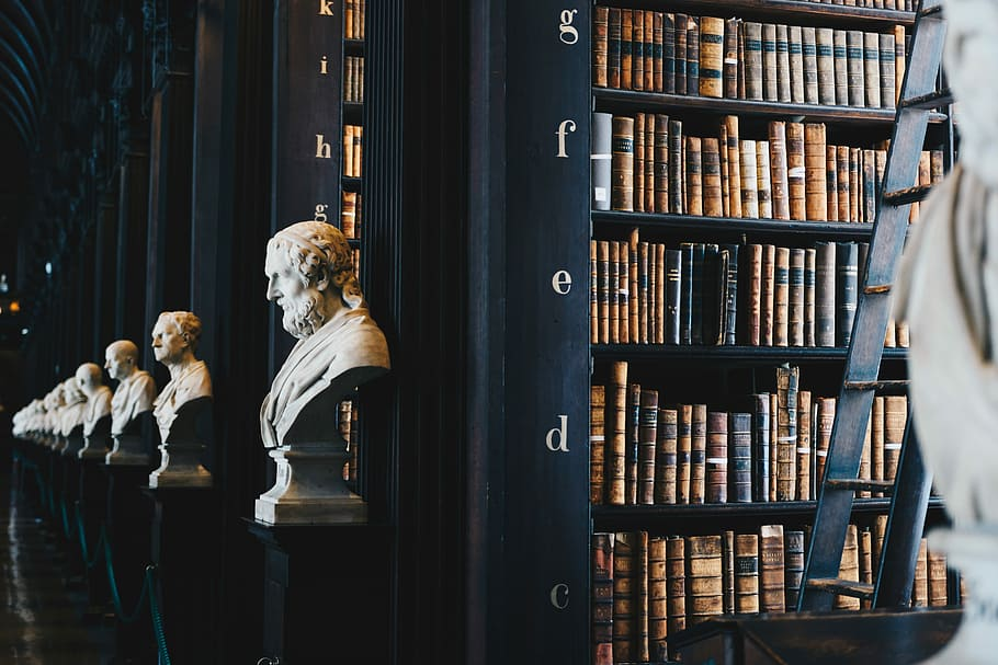 The Library of Babel, containing every 410-page book, seems to go on forever. Image Source: The Long Room pf The Old Library at Trinity College