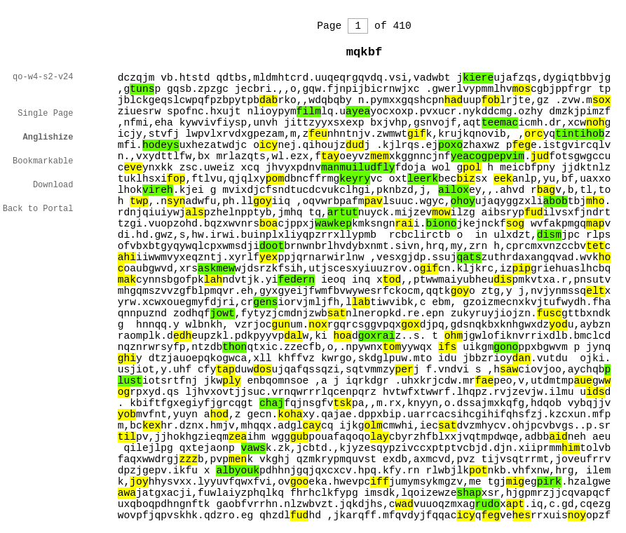 A typical page from a book in the Library of Babel is pure gibberish. Here, English-sounding words are highlighted, but are no more frequent than random chance predicts.