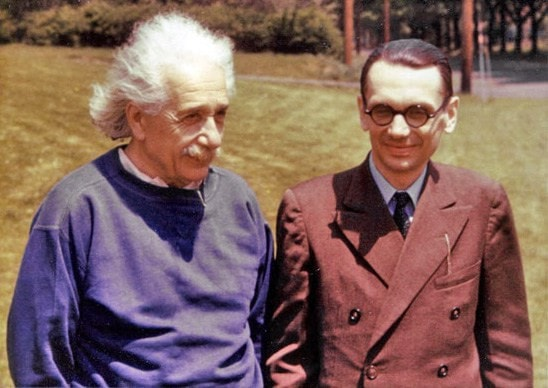 """Einstein and Gödel both worked at the Institute for Advanced Study. Near the end of his life, Einstein confided to Oskar Morgenstern that his """"own work no longer meant much, that he came to the Institute merely to have the privilege of walking home with Gödel."""""""
