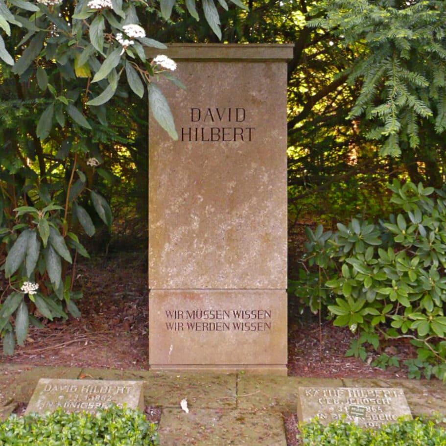"""David Hilbert's tombstone in Göttingen. The inscription reads: """"Wir mussen wissen. Wir werden wissen."""" Meaning """"We must know. We will know."""" Image Credit: Wikimedia"""